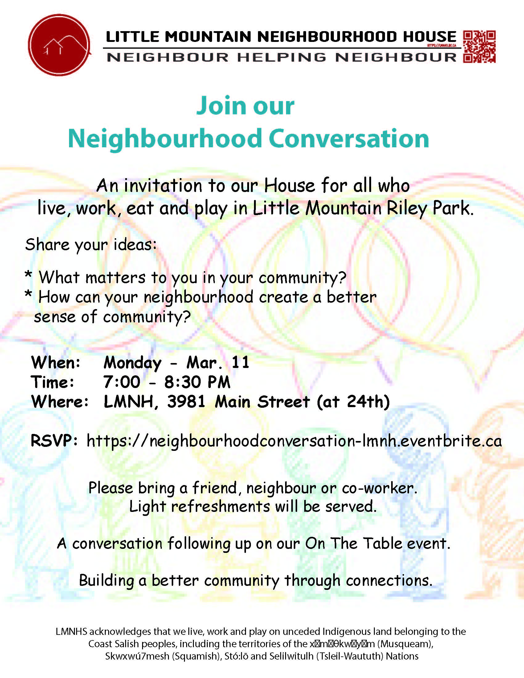 Neighbourhood conversation poster 2019
