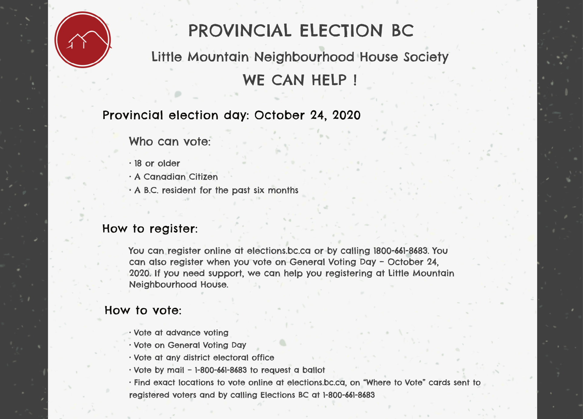 Poster for Provincial election